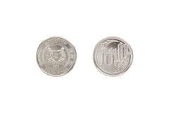 Framdelen och baksida av Singapore myntar cent 10 Arkivfoton