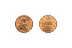 Framdelen och baksida av USA myntar 1 cent royaltyfri fotografi