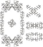 Frame 03. Graphic design background pattern consisting of flowering vector illustration