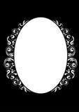 Frame. Floral round white frame in black background eps Stock Photos