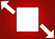 Frame. Square  frame with arrows in red background eps Royalty Free Stock Photos