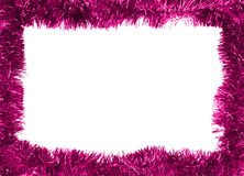Frame. New year frame, purple tinsel Royalty Free Stock Image