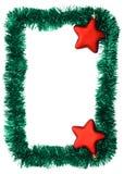 Frame. New year frame, red stars Stock Photo