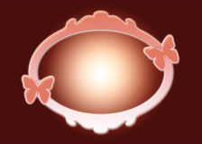 Frame. Abstract frame or mirror with butterflies on both sides on dark red background Royalty Free Stock Photo