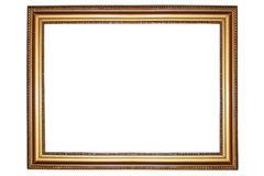 Frame. Old antique gold frame over white background Stock Photography