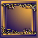 Frame. Brown and violet background with yellow ornamental decorative frame Stock Image