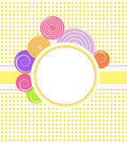 Frame. Vector frame with candies on the white background with dots Royalty Free Stock Photography