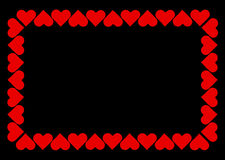 The frame. Border from red hearts Royalty Free Stock Photos