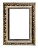 Frame. An empty wooden picture frame isolated on white stock photography