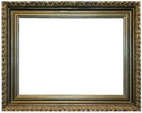Frame. Gold coloured, isolated over white empty frame. Such frames is used on exhibitions Royalty Free Stock Photos