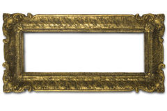Frame. An old golden frame on white Royalty Free Stock Photos