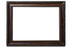Frame. An old wooden frame on white Stock Photos