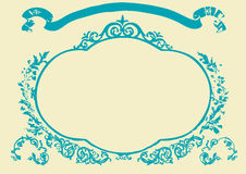 Frame. With banner and floral elements around . Vector illustration Stock Images