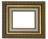 Frame. Retro Revival Old Gold Frame with paspartout Royalty Free Stock Photo