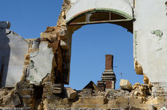 Frame of abandoned ruined building with blue sky,Odessa,Ukraine Royalty Free Stock Images