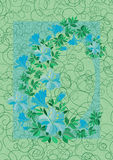 Frame from abstract blue flowers with background Stock Photography