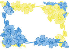 Frame from abstract blue and yellow flowers. Illustration of frame from blue and yellow flowers Stock Image