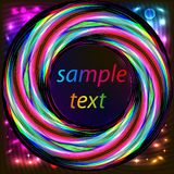 Frame with abstract bright neon circle for text Royalty Free Stock Photography