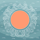 Frame with abstract decorative sun Stock Photo