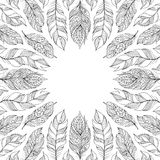 Frame with abstract feathers. Royalty Free Stock Photo
