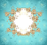 Frame with abstract flowers on blue background Stock Photography