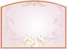 Frame abstrato do ouro com projeto floral cor-de-rosa ilustração royalty free