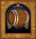 Frame advertising wine barrel beer banner Stock Images