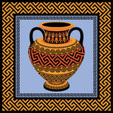Frame and amphora with Greek ornament Meander Stock Images