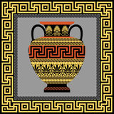 Frame and amphora with Greek ornament Meander Royalty Free Stock Photo