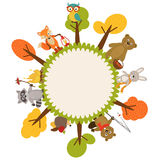 Frame with animals of forest Royalty Free Stock Photography