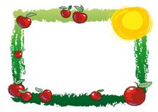 Frame with apples. A bright frame with apples, sun and space for your text in the middle Royalty Free Stock Images