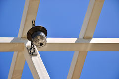 Frame of architecture and lamp under blue sky Stock Image
