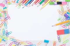 Frame around a white sheet, in the form of stationery of different colors. A frame around a white sheet, in the form of stationery of different colors royalty free stock image