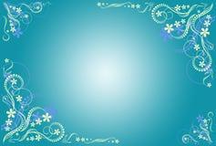 Frame artístico azul floral Imagem de Stock