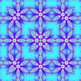 Frame as square geometric pattern, lacy ornamental arabesque in neon blue and indigo stock illustration