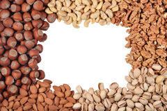 Frame of assorted nuts Stock Images