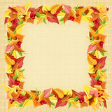 Frame with autumn colorful leaves on a sacking background. Vector eps-10. Stock Images