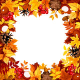 Frame with autumn colorful leaves. Vector illustration. Royalty Free Stock Images