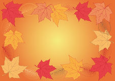 The frame of the autumn leaves. The frame of autumn, bright, colorful leaves of maple and elm on the yellow-orange background Royalty Free Stock Photo