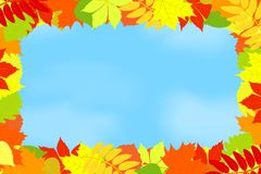 Frame of autumn leaves against the sky. Stock Photography