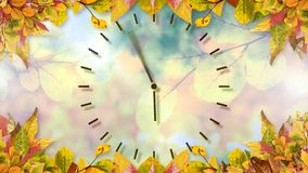 Frame of autumn leaves and clock. Digitally generated video of frame of autumn leaves and clock 4k stock footage