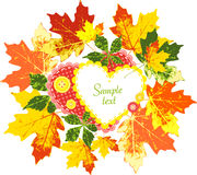 Frame of autumn leaves, hearts and buttons Stock Photo