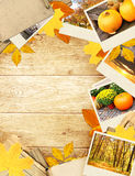 Frame with autumn leaves and photos Royalty Free Stock Image