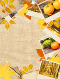 Frame with autumn leaves and photos Royalty Free Stock Photo