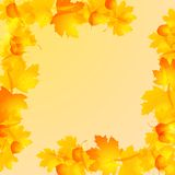 Frame of autumn leaves. Frame with autumn leaves on a yellow background royalty free illustration