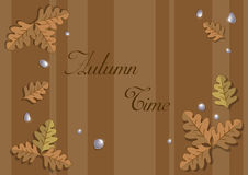 Frame of autumn oak leaves. On abstract background stock illustration
