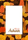 Frame with autumn stylized trees. Landscape seasonal illustration Royalty Free Stock Images
