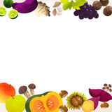 Frame of autumn vegetables. Autumn vagetable frame by watercolor paint touch Royalty Free Stock Image