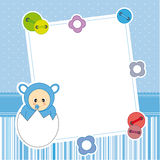 Frame baby boy. Baby boy arrival announcement card. Frame Stock Images