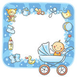 Frame with baby-boy things Royalty Free Stock Photography